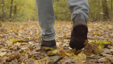 Close-up of a male legs in blue jeans and dark brown boots walking in the autumn Footage