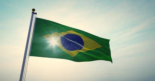 Brazilian Flag Waving On A Flagpole For Brazil National Celebration - 30fps 4k Video Animation