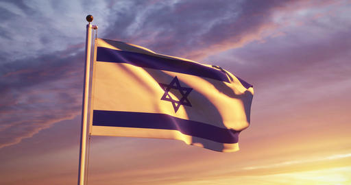 Israeli Waving Flag Flying Depicts The State Of Israel Insignia - 4k 30fps Video Footage Animation
