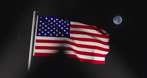 Usa Flag Flying In The United States Of America Shows Independence - Slow Motion Video 4k 30fps Animation