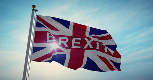 Brexit Flag Waving Depicts Leave Campaign To Exit The Eu - 4k Slow Motion 30fps Video Animation