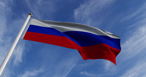 Russian Waving Flag Or Tricolor Of Russia Federation In Moscow - Slow Motion Video 30fps 4k Animation