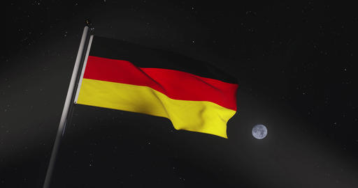 German Flag Waving Or Banner Flying Represents Federal Republic Of Germany - 4k 30fps Slow Motion Animation