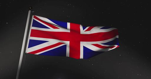 United Kingdom Flag Waving Shows British Or United Kingdom National Banner - 30fps 4k Video Animation