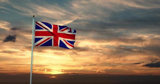 Union Jack Flying Shows British Flag Or United Kingdom National Banner - 30fps 4k Video Animation