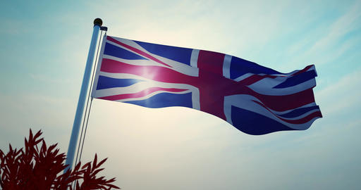 United Kingdom Flag Waving Shows British Or United Kingdom National Banner - 30fps 4k Video Animation
