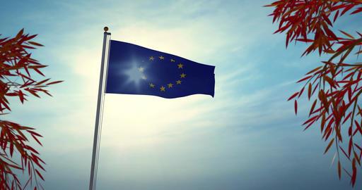 Eu European Union Flag Flying 30fps 4k Video Of Banner Waving Animation