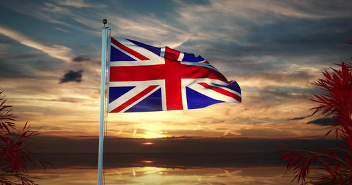 United Kingdom Flag Waving Shows British Or United... Stock Video Footage