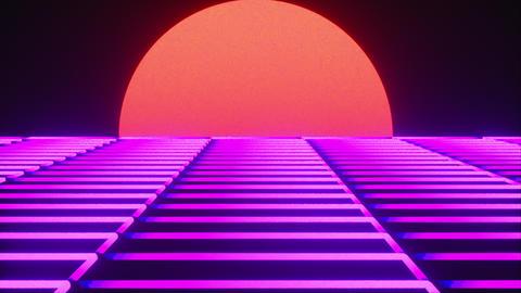 Futuristic neon landscape of the 80 s. Computer generated futuristic sun in Live Action