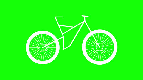 Mountain bike animation isolated on green background. Seamless loop Animation