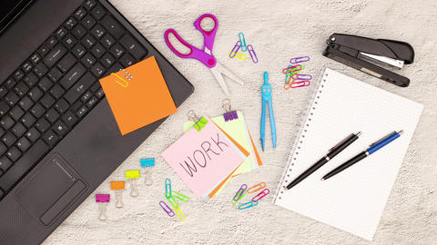 Writing words on the paper for notes on office desk - Stop motion animation Animation
