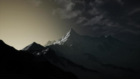 Mountains in Evening Cloudy Sky Footage