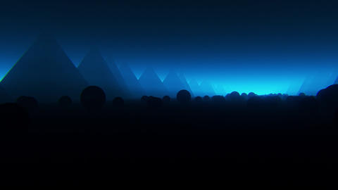 3D Abstract Spheres Landscape with Fog VJ Loop Motion Background Videos animados