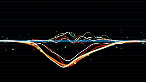audio waveform animation spectrum sound equalizer 3D rendering animation curved Live Action