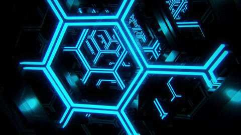 3D Blue Sci-Fi Neon Hexagons VJ Loop Motion Background Videos animados