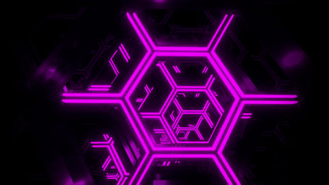 3D Purple Sci-Fi Neon Hexagons VJ Loop Motion Background Videos animados