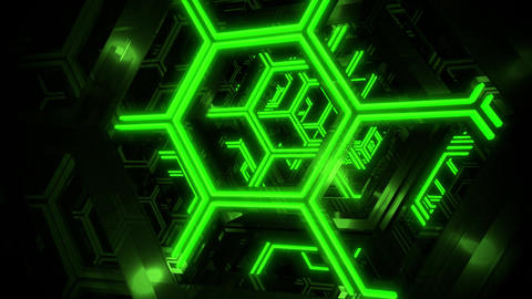 3D Green Sci-Fi Neon Hexagons VJ Loop Motion Background Videos animados