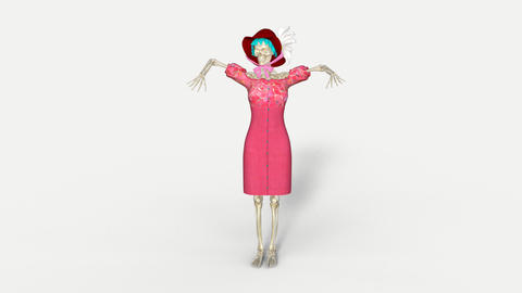 skeleton woman moves, animation, transparent background Footage