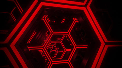 3D Red Sci-Fi Neon Hexagons VJ Loop Motion Background Videos animados