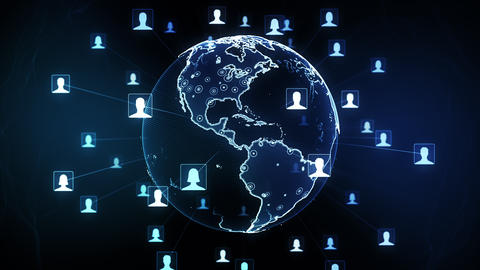 Global network connections. Concept of social networking and internet. 4K Animation