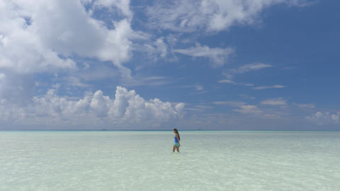 Polynesian beach - shallow turquoise water in coral reef lagoon French Polynesia Footage