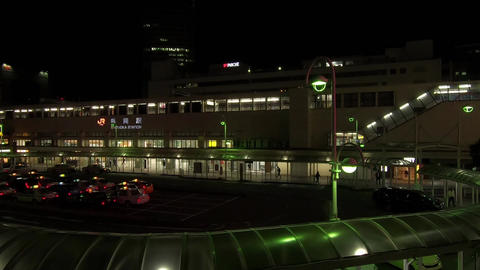 The scenery in front of the terminal station at night Live Action