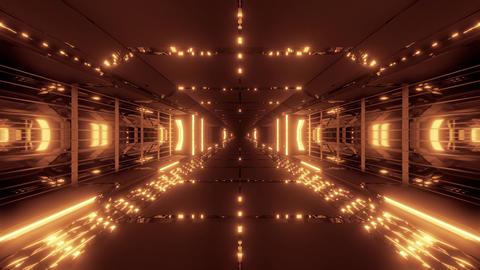 futuristic scifi tunnel corridor with nice reflection 3d illustration live Animation