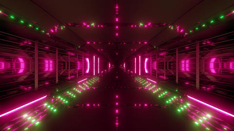 futuristic scifi tunnel corridor with nice reflection 3d illustration live Animation