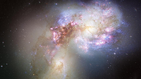 Space Flight to the Antennae Galaxies 4K Animation
