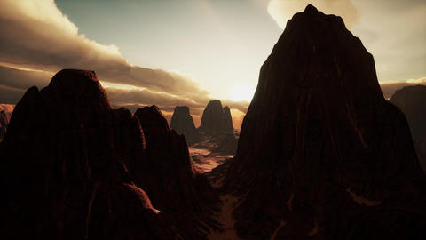 Amazing Sandstone Formations in Famous Sunset at Monument Valley Footage