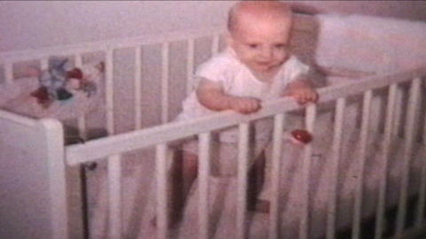 Happy Baby In Crib 1964 Vintage 8mm film Footage