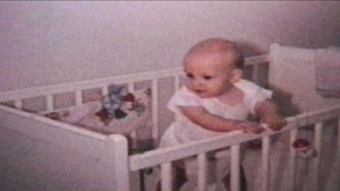 Happy Baby In Crib 1964 Vintage 8mm film Stock Video Footage