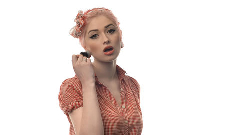 beauty woman portrait of pin-up girl beautiful cle Stock Video Footage