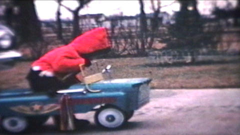 Little Boy Rides Car Outside 1964 Vintage 8mm film Stock Video Footage