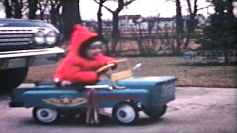 Little Boy Rides Car Outside 1964 Vintage 8mm film Footage
