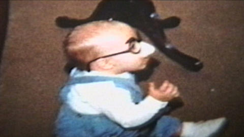 Baby Wearing Funny Glasses 1964 Vintage 8mm Film stock footage