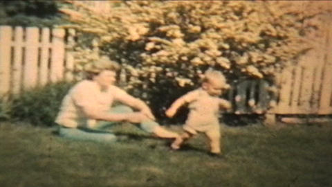 Boy Plays With His Grandma 1963 Vintage 8mm film Stock Video Footage