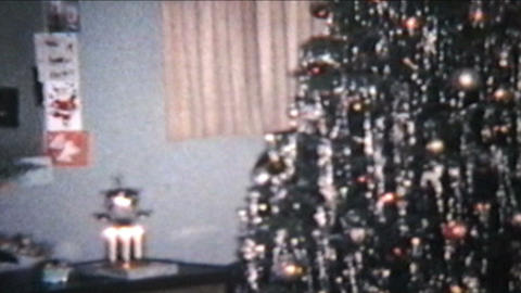 Christmas Scene 1960 Vintage 8mm Film stock footage