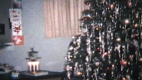 Christmas Scene 1960 Vintage 8mm film Stock Video Footage