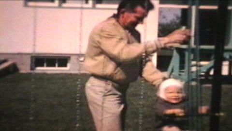 Dad Pushes Little Boy On Swing 1963 Vintage 8mm film Footage