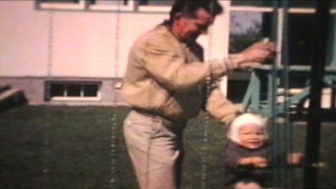 Dad Pushes Little Boy On Swing 1963 Vintage 8mm film Live Action
