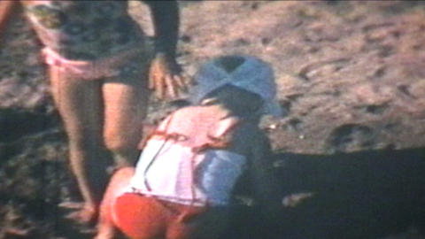Kids At The Beach 1969 Vintage 8mm film Stock Video Footage
