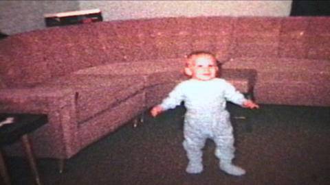 Little Boy Learns To Walk 1963 Vintage 8mm film Stock Video Footage