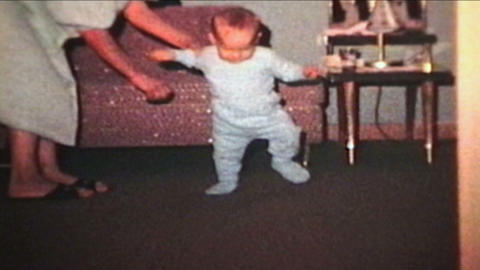 Little Boy Learns To Walk 1963 Vintage 8mm film Stock Video Footage