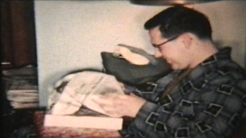 Opening Christmas Presents 1958 Vintage 8mm film Stock Video Footage