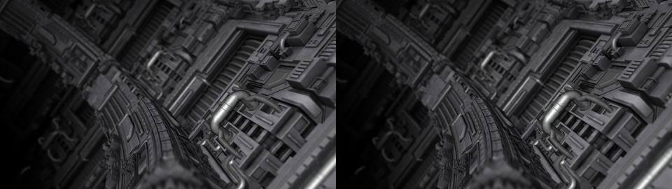 Curved Science Fiction Surface - Stereoscopic 3D Stock Video Footage