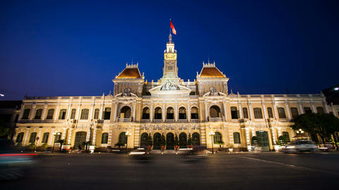 1080p - Timelapse Vietnam HCMC City Hall Footage