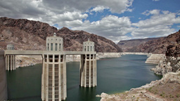 Hoover Dam and Black river canyon camera movement view Stock Video Footage