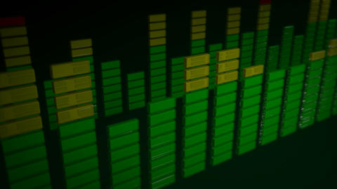 3d stereo green equalizer Stock Video Footage