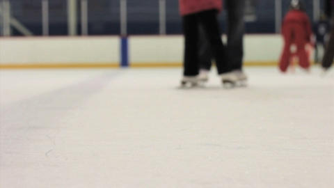 Mother And Daughter Practice Ice Skating Together Stock Video Footage
